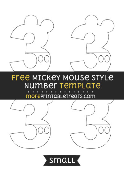Free Mickey Mouse Style Number 3 Template - Small