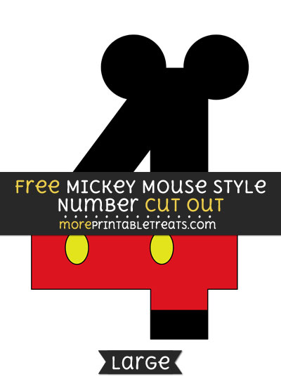 Free Mickey Mouse Style Number 4 Cut Out - Large size printable