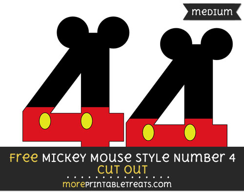Free Mickey Mouse Style Number 4 Cut Out - Medium Size Printable