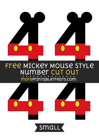 Free Mickey Mouse Style Number 4 Cut Out - Small Size Printable
