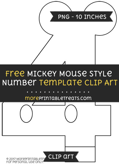 Free Mickey Mouse Style Number 4 Template - Clipart