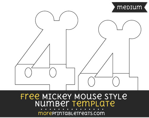 Free Mickey Mouse Style Number 4 Template - Medium