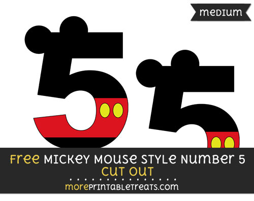 Free Mickey Mouse Style Number 5 Cut Out - Medium Size Printable
