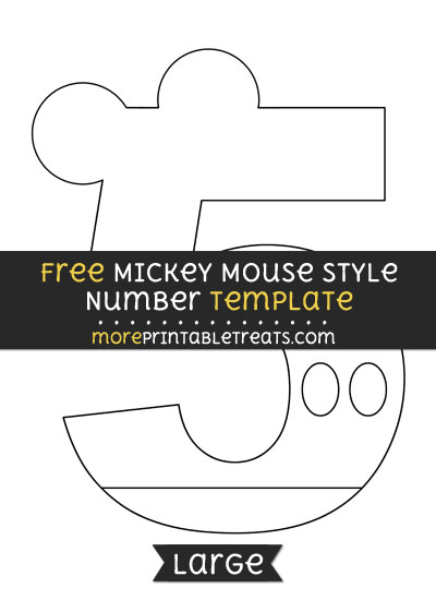 Free Mickey Mouse Style Number 5 Template - Large
