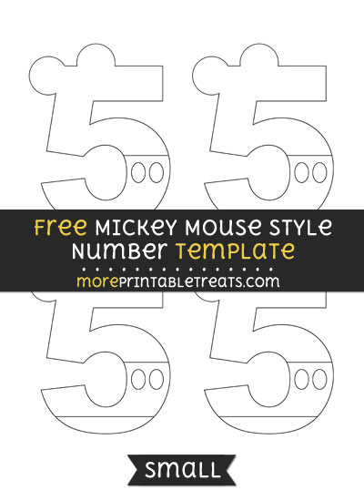 Free Mickey Mouse Style Number 5 Template - Small