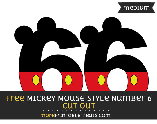 Free Mickey Mouse Style Number 6 Cut Out - Medium Size Printable