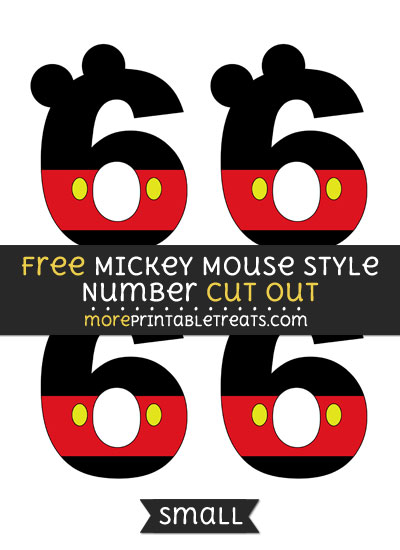 Free Mickey Mouse Style Number 6 Cut Out - Small Size Printable