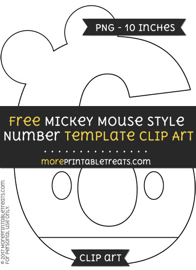 Free Mickey Mouse Style Number 6 Template - Clipart