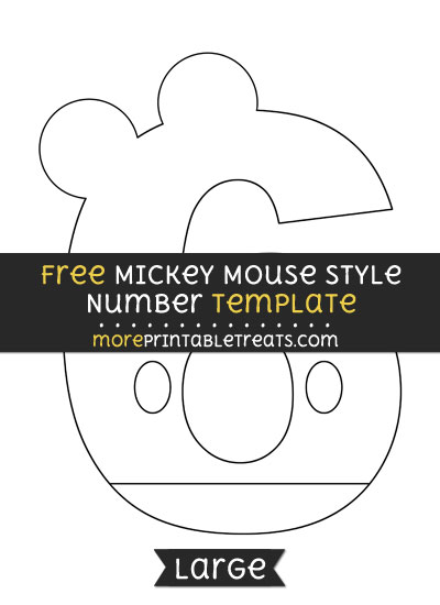 Free Mickey Mouse Style Number 6 Template - Large