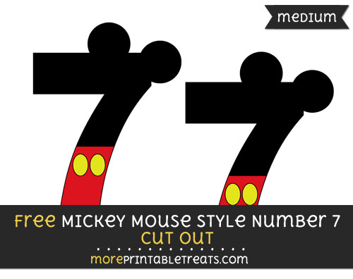 Free Mickey Mouse Style Number 7 Cut Out - Medium Size Printable