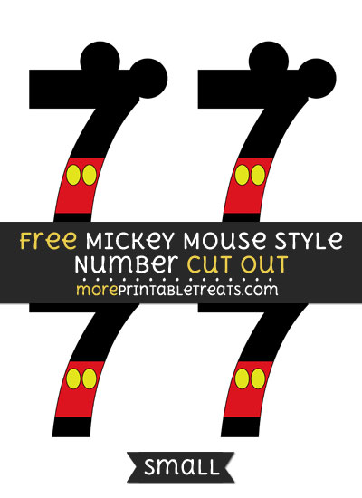 Free Mickey Mouse Style Number 7 Cut Out - Small Size Printable
