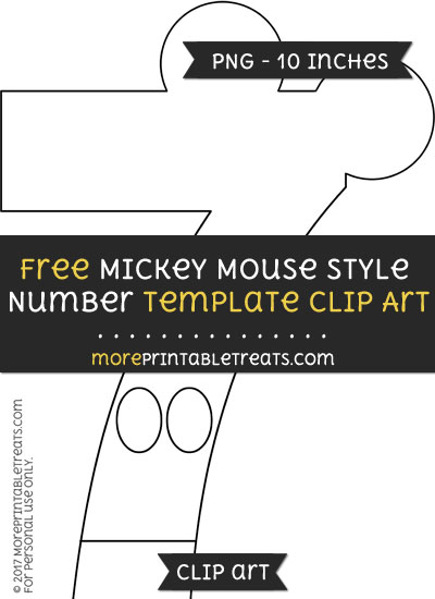Free Mickey Mouse Style Number 7 Template - Clipart