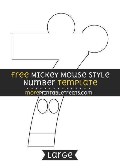 Free Mickey Mouse Style Number 7 Template - Large