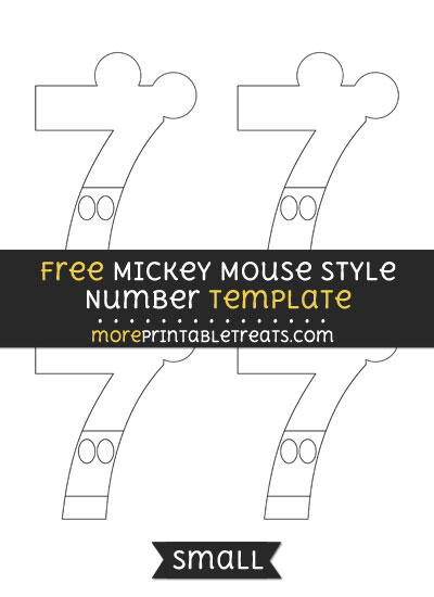 Free Mickey Mouse Style Number 7 Template - Small