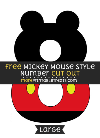 Free Mickey Mouse Style Number 8 Cut Out - Large size printable