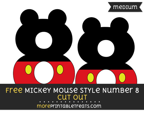 Free Mickey Mouse Style Number 8 Cut Out - Medium Size Printable