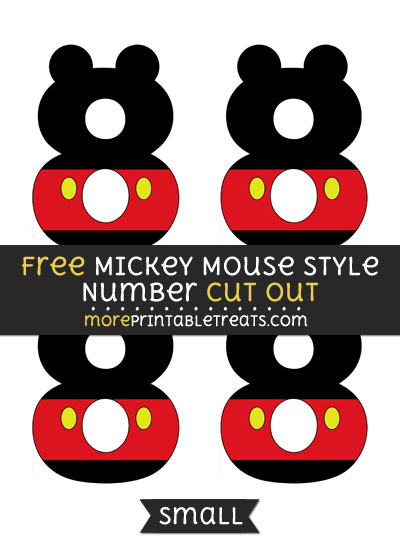 Free Mickey Mouse Style Number 8 Cut Out - Small Size Printable