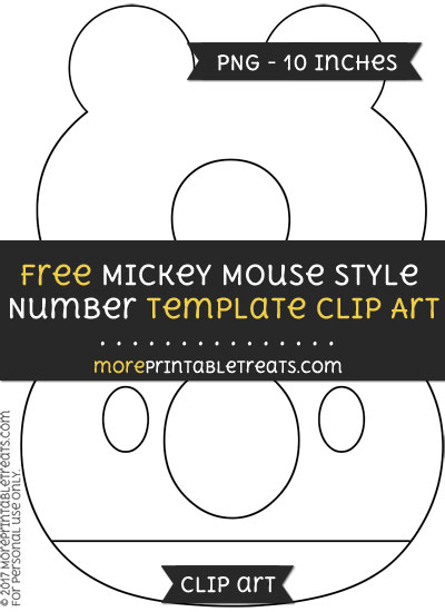 Free Mickey Mouse Style Number 8 Template - Clipart