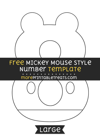 Free Mickey Mouse Style Number 8 Template - Large