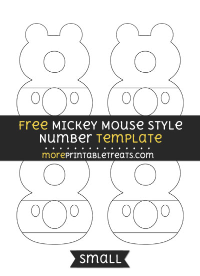 Free Mickey Mouse Style Number 8 Template - Small