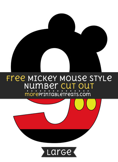 Free Mickey Mouse Style Number 9 Cut Out - Large size printable