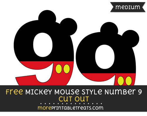 Free Mickey Mouse Style Number 9 Cut Out - Medium Size Printable