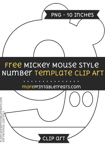 Free Mickey Mouse Style Number 9 Template - Clipart