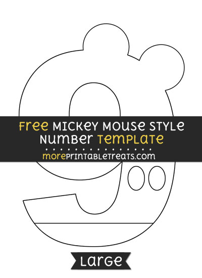 Free Mickey Mouse Style Number 9 Template - Large