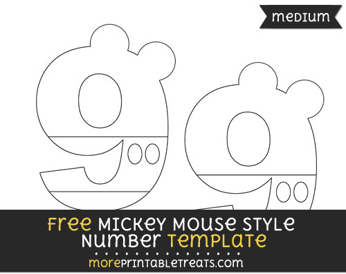 Free Mickey Mouse Style Number 9 Template - Medium