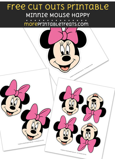 Free Minnie Mouse Happy Cut Out Printable with Dashed Lines