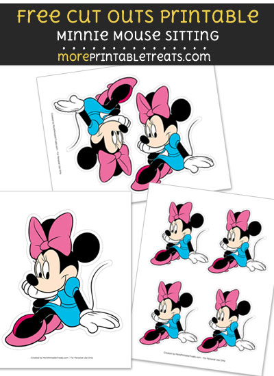 Free Minnie Mouse Sitting Cut Out Printable with Dashed Lines