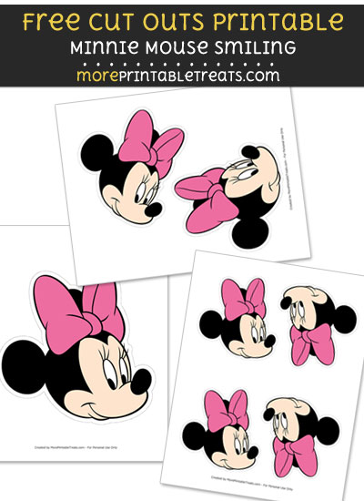 Free Minnie Mouse Smiling Cut Out Printable with Dashed Lines