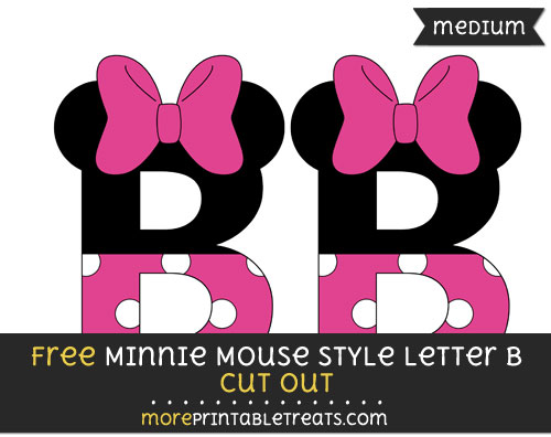 Free Minnie Mouse Style Letter B Cut Out - Medium Size Printable