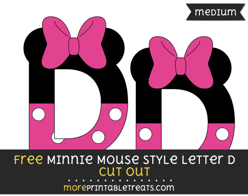 Free Minnie Mouse Style Letter D Cut Out - Medium Size Printable