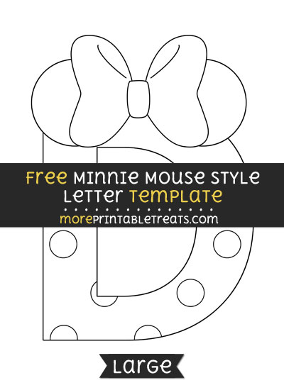 Free Minnie Mouse Style Letter D Template - Large