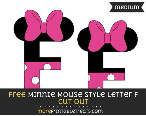 Free Minnie Mouse Style Letter F Cut Out - Medium Size Printable