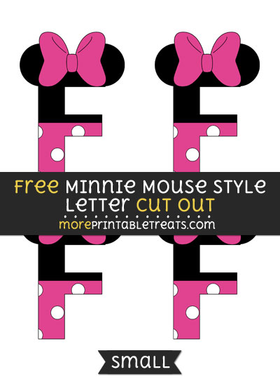 Free Minnie Mouse Style Letter F Cut Out - Small Size Printable