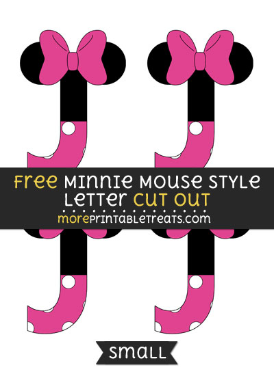 Free Minnie Mouse Style Letter J Cut Out - Small Size Printable