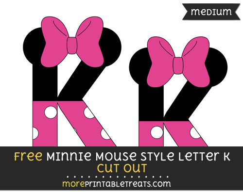Free Minnie Mouse Style Letter K Cut Out - Medium Size Printable