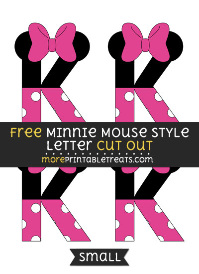 Free Minnie Mouse Style Letter K Cut Out - Small Size Printable