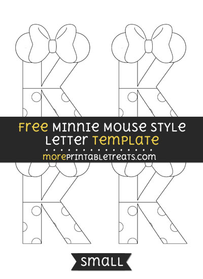 Free Minnie Mouse Style Letter K Template - Small