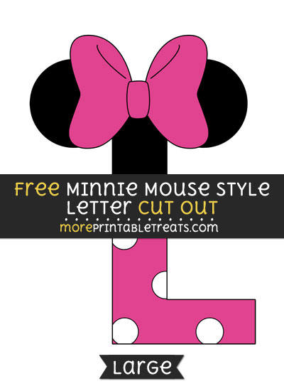 Free Minnie Mouse Style Letter L Cut Out - Large size printable