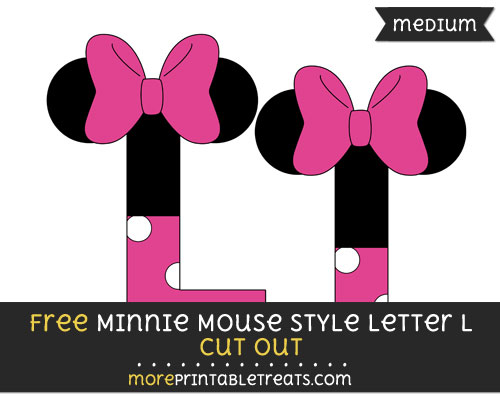 Free Minnie Mouse Style Letter L Cut Out - Medium Size Printable