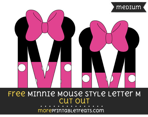Free Minnie Mouse Style Letter M Cut Out - Medium Size Printable