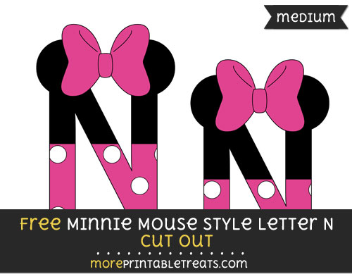 Free Minnie Mouse Style Letter N Cut Out - Medium Size Printable