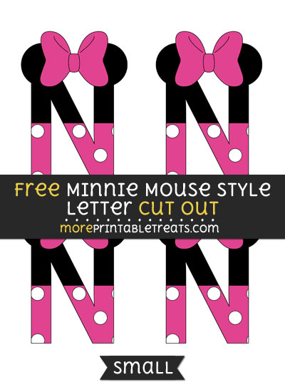 Free Minnie Mouse Style Letter N Cut Out - Small Size Printable
