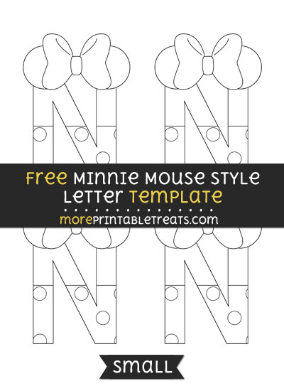 Free Minnie Mouse Style Letter N Template - Small