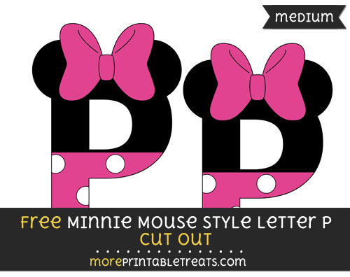 Free Minnie Mouse Style Letter P Cut Out - Medium Size Printable