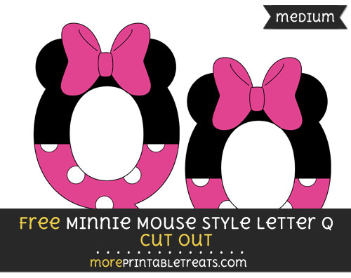 Free Minnie Mouse Style Letter Q Cut Out - Medium Size Printable