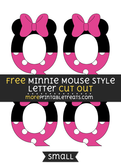 Free Minnie Mouse Style Letter Q Cut Out - Small Size Printable